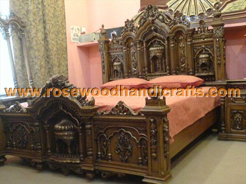 Wooden Antique Carved Beds Product Code:: WABS 08. Price:: On Inquiry  Material:: Rosewood Details:: King Size Bed Comes With Dressing Table And 2  Side ...