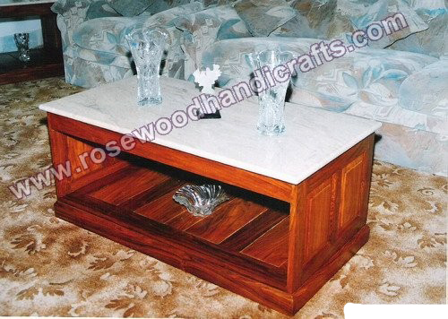 >Wooden Coffee Table With Marble Top