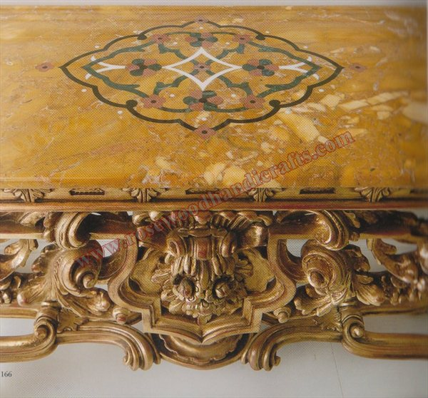 Wooden Carved Console Table With Top Marble