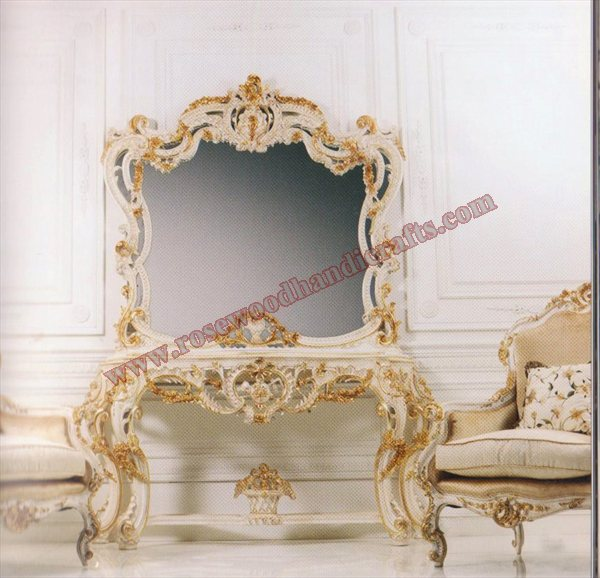 Wooden Console Table With Mirror