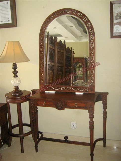 Wooden Carved Console With Mirror