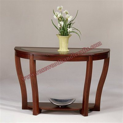 Wooden Console Glass Top