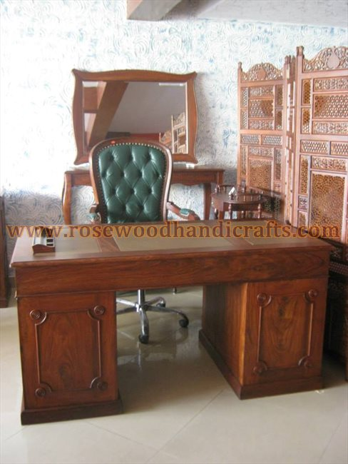 Wooden Leather Top Writing Table
