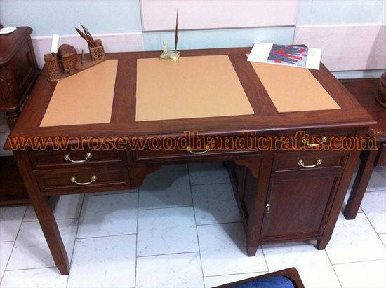 Wooden Leather Top Writing Desk
