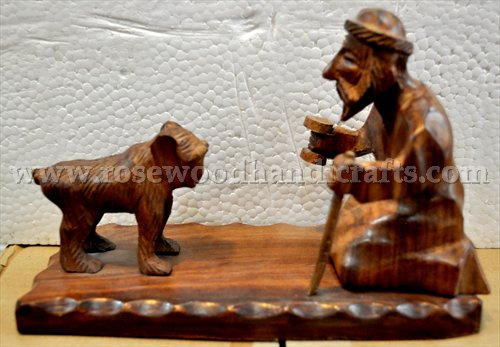 Wooden Man With Monkey