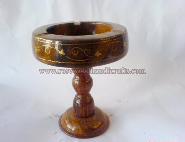 Wooden Brass Inaly Work Ashtray
