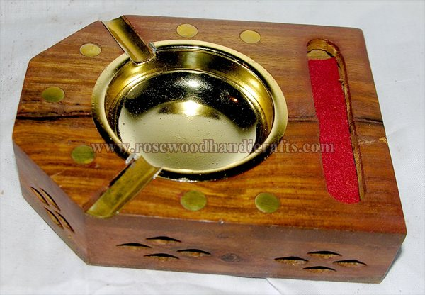 Wooden Brass Inlay work Ashtray