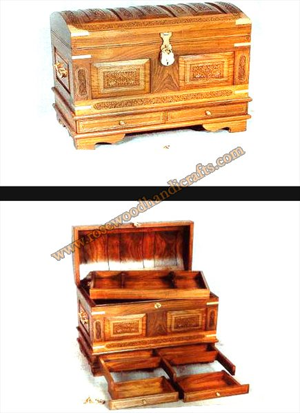 Wooden Captain Chest with Brass Inlaid