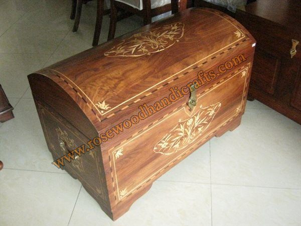 Wooden Captain Chest With Wood inlaid
