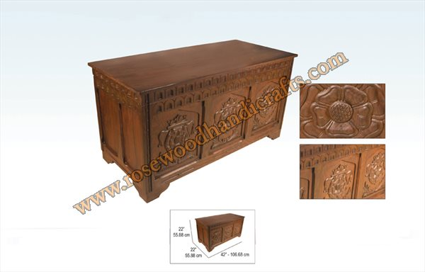 Wooden Full Carved Captain Chest