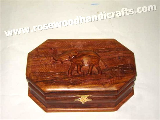 8 Corner Wooden Carved Jewelry Box
