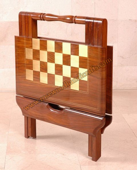 Wooden Chess Folding Game Table