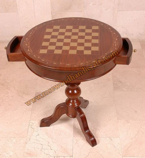 Wooden Round Chess Game Table