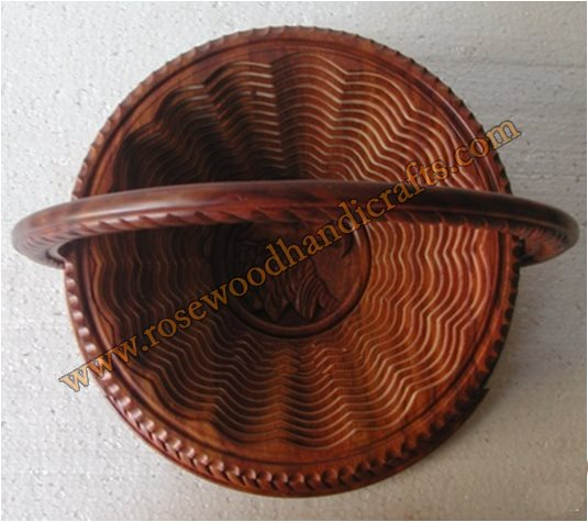 Wooden Rope & Falcon Head Shape Collapsible Spring Basket