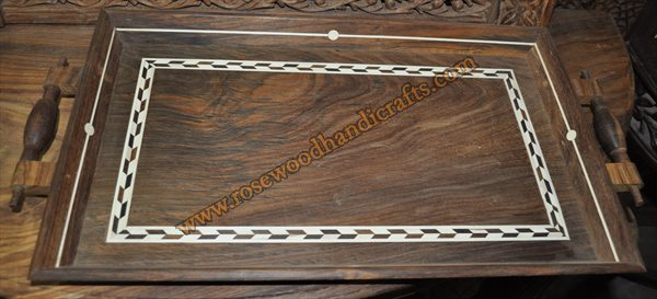 Wooden Serving Tray With Wood Inlaid Work