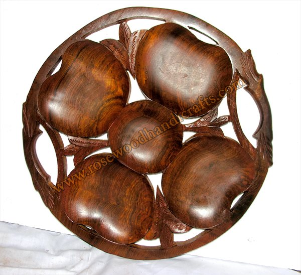 Wooden Round Shape Dry Fruit Tray