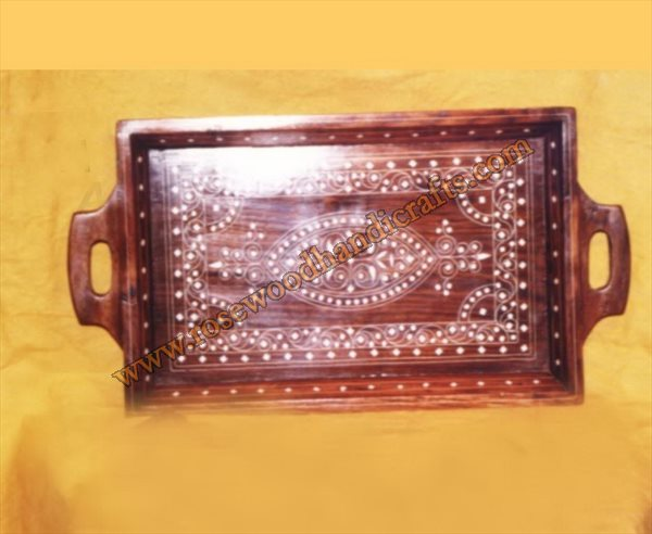 Wooden Serving Tray With Plastic Inlaid Work