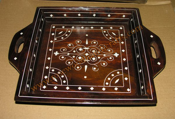 Wooden Plastic Inlaid Work Fruit Tray