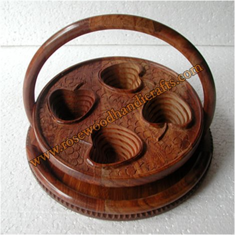 Wooden Cherry Shape 4 Comparments Spring Basket
