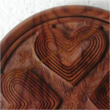 Wooden Heart Shape 4 Compartments Spring Basket