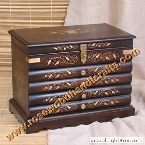 Wooden Jewelry Box With Brass Inlaid Work