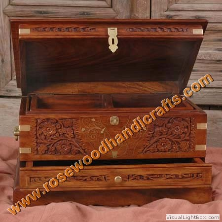 Wooden Carved & Brass Inlaid Jewelry Box