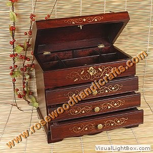 Wooden Brass Inlaid Jewelry Box