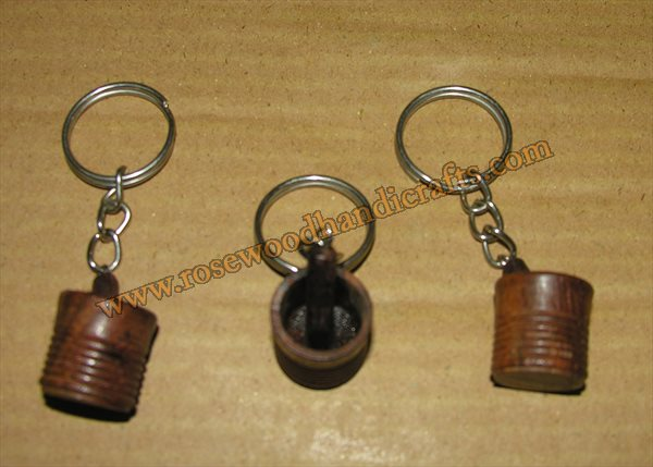 Wooden Mortar Pestle Shape Key Chain