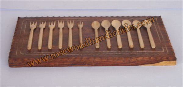 Wooden Kitchen Spoons Set On Cutting Board