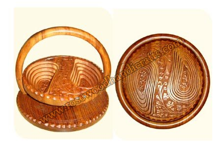 Wooden Round Shape 2 Compartments Spring Basket