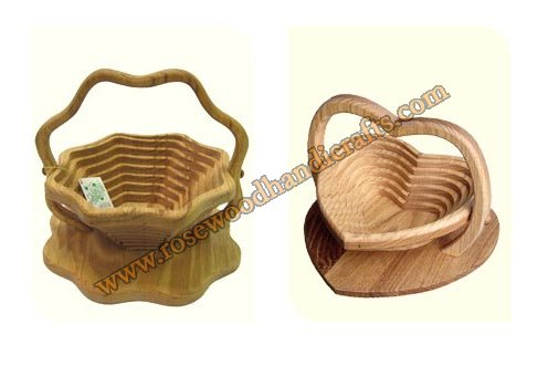 Wooden Heart & Flower Shape Spring Basket