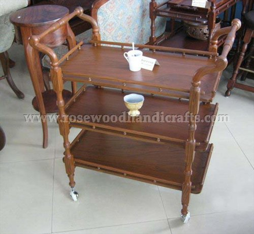 Wooden Tea Cart Three Flappers With Brown Color