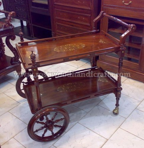 Tea Cart With Brown Finished