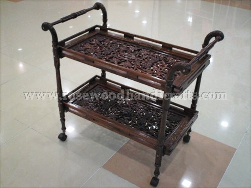 Tea Cart Carved With Two Flappers