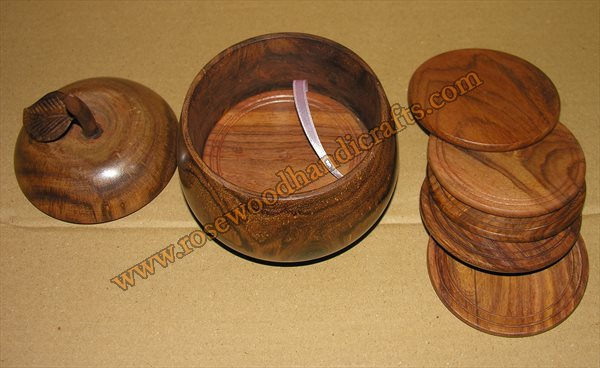 Wooden Apple Shape Tea Coaster