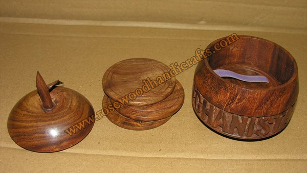 Wooden Apple Shape Tea Coaste With Engraved