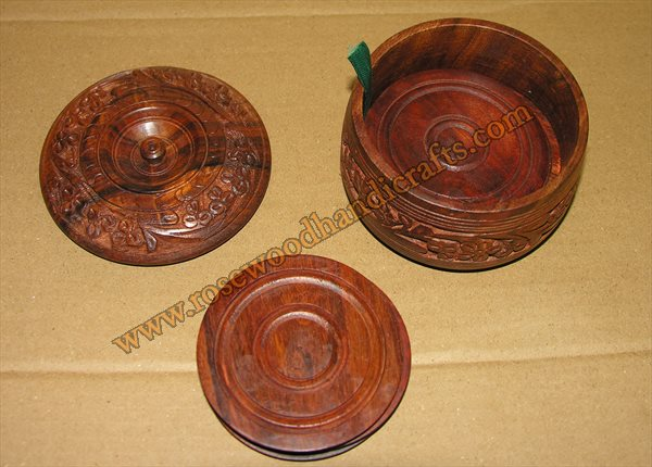 Wooden Full Carved Tea Coaster