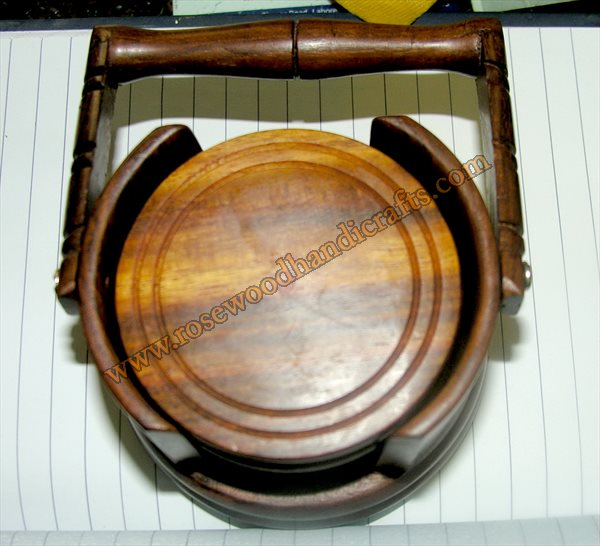 Wooden Basket Shape Tea Coaster