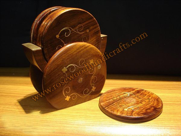 Wooden Tea Coaster With Brass Inlay Work