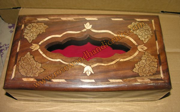 Wooden Tissue Box With Wood Inaly Work
