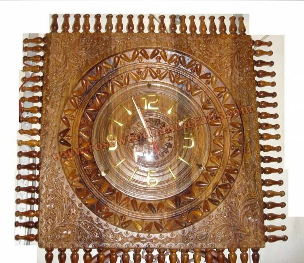 Wooden Square Shape Fine Carved Work Wall Clock