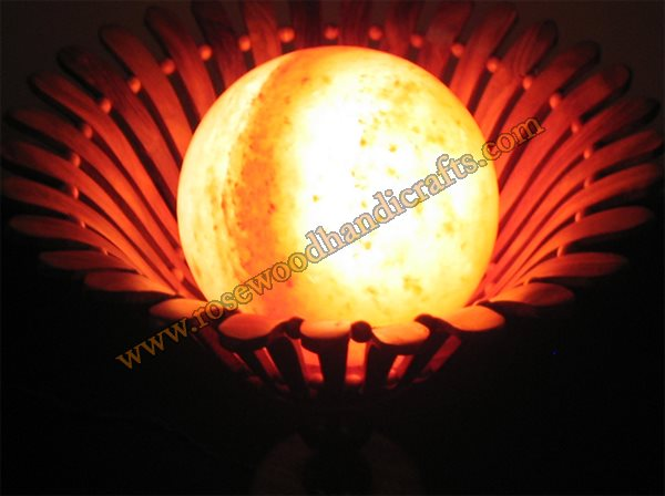 Wooden Basket With Salt Lamp