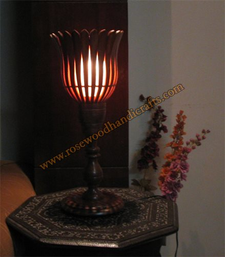 Wooden Flower Shape Stand With Rock Salt Lamp