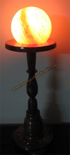Wooden Table Stand With Salt Lamp
